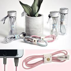 【ピンク】iPhone用ライトニングUSBケーブル(留め具付)1m
