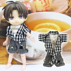 【ブラック】11cmボディ用 ギンガムチェックカジュアルコーデ(シャツ・タンクトップ・半ズボン)